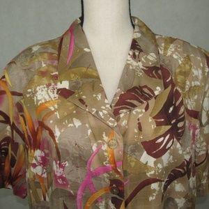 Alfred Dunner Shirt Size 18W Short Sleeve Buttoned